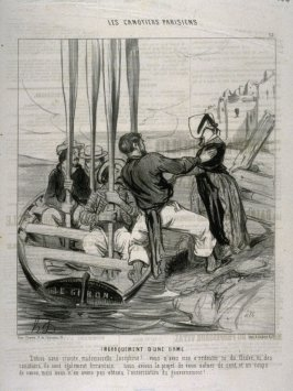 Embarquement d'une dame no.15 from the series Les canotiers parisiens (the boatmen of Paris) published in Le Charivari 26 Jun 1843