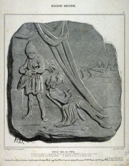 ACHILLE SOUS SA TENTE ,no. 3 from the series HISTOIRE ANCIENNE., published in Le Charivari 1 March 1842