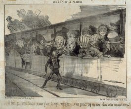 Il faut que vous fassiez encore place à sept voyageurs... vous prenez trop vos aises dans votre compartiment! no. 2 from the series Les trains de plaisir published in Le Charivari 13 August 1852