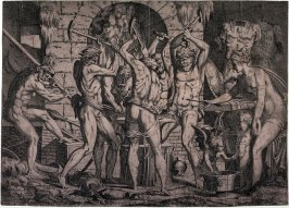 Vulcan and the Cyclops Forging Arrows for Cupid, after Luca Penni (?)