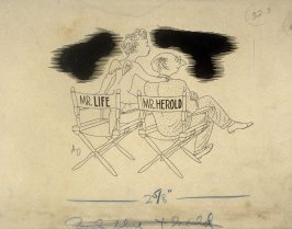 Mr. Life - Mr. Herold, cartoon to accompany column of movie criticism by Don Herold in Life Magazine
