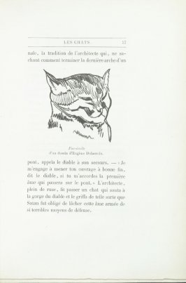 """Fac-simile d'un dessin d'Eugène Delacroix,"" pg. 57, in the book Les Chats (Cats) by Champfleury (Paris: J. Rothschild, 1870)."