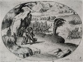 Jacob wrestling with the Angel. From a Set of eleven scenes from the Old Testament