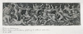 Combats and triumphs: Eight Satyrs and Centaurs fighting to abduct women (7 from a series of 12 engravings)