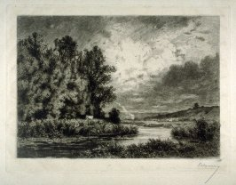 Landscape with river, in foreground fisherman in small boat