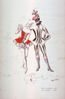 Sleeping Beauty: costume sketch for Puss in Boots and the White Cat, Act III