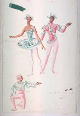 Sleeping Beauty: costume sketch for Fairy of the Enchanted Garden, Cavalier, and Page, Royal Opera, Copenhagen