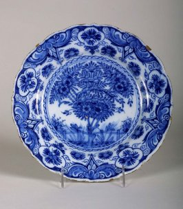 Plate, blue and white