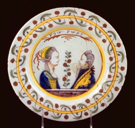 Plate, profile portraits of Prince and Princess of Orange
