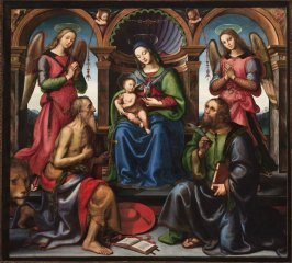 Madonna Enthroned with Saints Jerome and Bartholomew and Angels