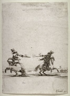 Two Soldiers Dueling with Pistols, from the series Divers exercices de cavalerie