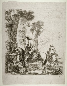 Two Horseman at a Fountain, from the series Diverses figures et griffonnements