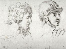 Two Male Heads Turned to the Right, from the series Recueil de Diverse Pièces Servant À L'Art de Portraiture