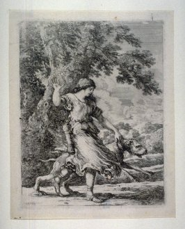 Nymph Holding a Large Dog by the Collar