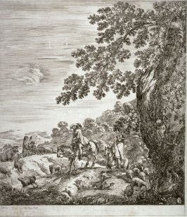 Two Gentlemen Travelers Passing a Flock of Sheep, from the series Six Large Views of Rome and the Countryside