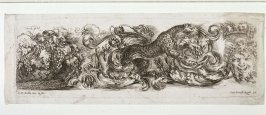 Ornamental Frieze with a Leopard, Grapes and Mask, from the series Ornamenti Di Fregi e Fogliame