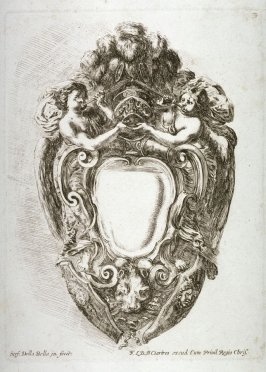 Escutcheon with Figures of Fame, from the series Raccolta di varii cappriccii e nove inventioni di cartelle et ornamenti