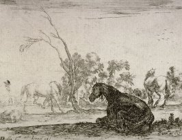Les chevaux dans un paturage (Horses in a pasture), pl. 6 from the series Agreable diversité de Figures