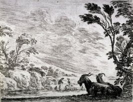 Les deux chèvres couchées (Two goats lying down), pl. 9 from the series Agreable diversité de Figures