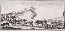 Soldiers Marching in a Landscape, from the series Dessins de quelques conduites de troupes
