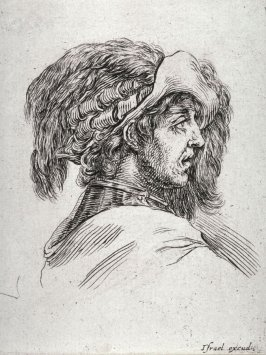 Profile of a Youth in a Plumed Hat, from the series Diverses testes et figures
