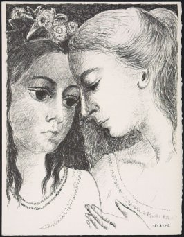 """Confidences"" by Paul Delvaux, pg. 211, in the book Souvenirs et portraits d'artistes (Reminiscences and Portraits of Artists) by Fernand Mourlot (Paris: Alain c. Mazo, 1972 and in New York: Léon Amiel, 1972)."