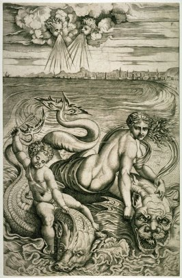 Venus and Eros Carried by Dolphins, after the engraving by Marco Dente da Ravenna