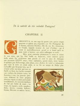 Untitled, Chapter II, pg. 19, in the book Pantagruel by François Rabelais (Paris: Albert Skira, 1943).
