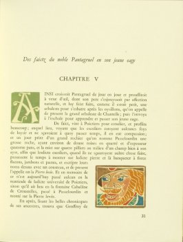 Untitled, Chapter V, pg. 31, in the book Pantagruel by François Rabelais (Paris: Albert Skira, 1943).