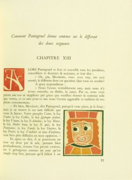 Untitled, Chapter XIII, pg. 77, in the book Pantagruel by François Rabelais (Paris: Albert Skira, 1943).