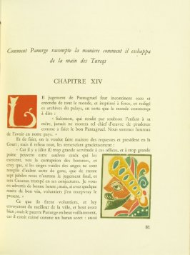 Untitled, Chapter XIV, pg. 81, in the book Pantagruel by François Rabelais (Paris: Albert Skira, 1943).