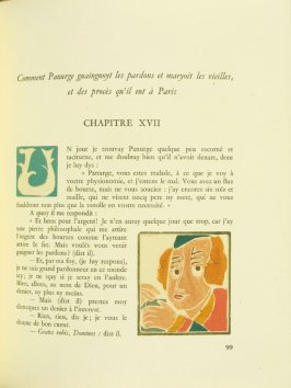 Untitled, Chapter XVII, pg. 99, in the book Pantagruel by François Rabelais (Paris: Albert Skira, 1943).