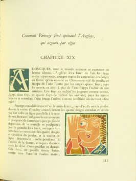 Untitled, Chapter XIX, pg. 111, in the book Pantagruel by François Rabelais (Paris: Albert Skira, 1943).
