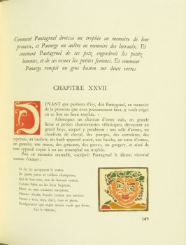Untitled, Chapter XXVII, pg. 149, in the book Pantagruel by François Rabelais (Paris: Albert Skira, 1943).