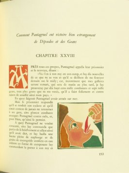 Untitled, Chapter XXVIII, pg. 153, in the book Pantagruel by François Rabelais (Paris: Albert Skira, 1943).