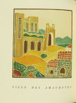 """Ville des Amaurotes,"" pg. 172, in the book Pantagruel by François Rabelais (Paris: Albert Skira, 1943)."