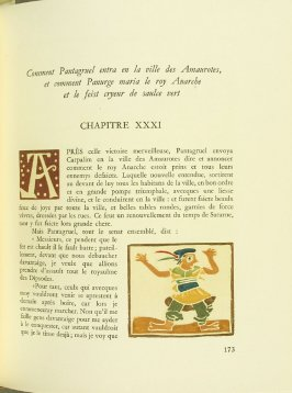 Untitled,Chapter XXXI, pg. 173, in the book Pantagruel by François Rabelais (Paris: Albert Skira, 1943).