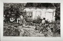 Cottage with garden and figure of man