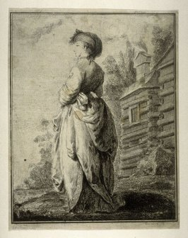 A Lady in Elegant Costume Standing in a Landscape
