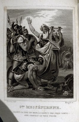 9me. Messénienne, Tyrtée aux Grecs,opposite page 117 in volume 1of the book, Messéniennes et poésies diverses (Paris: Ladvocat, 1826)