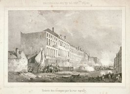 One of four scenes of 1830 revolution in Brussels: Entrée des troupes par la rue royale