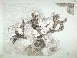 Four Cupids in clouds