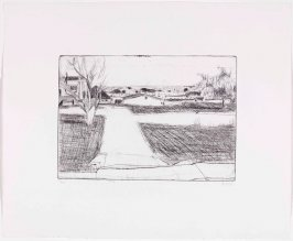 #32 (street scene - trees, houses, lawns), from the portfolio 41 Etchings Drypoints