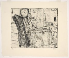 Untitled (Phyllis seated in striped armchair near open door)