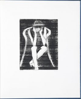 #29 (woman seated in curved-back chair resting elbows on knees) in the book, 41 Etchings Drypoints by Richard Diebenkorn ([Berkeley]: Crown Point Press, 1965)