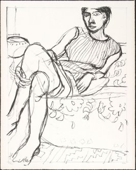Untitled (Reclining Woman, Striped Shirt, Crossed Legs)