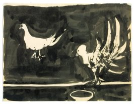 Untitled (pair of pigeons with feeding dish)