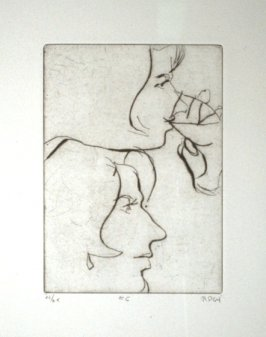 #6 (two portraits of Phyllis), from the portfolio 41 Etchings Drypoints