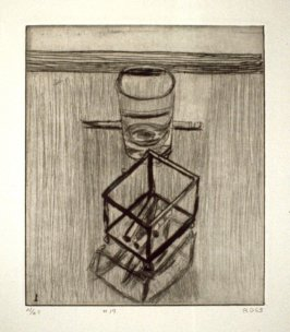 #19 (still life with pencil, glass, and box with cigarettes), from the portfolio 41 Etchings Drypoints