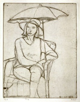 #14 (Phyllis under umbrella on the patio), from the portfolio 41 Etchings Drypoints